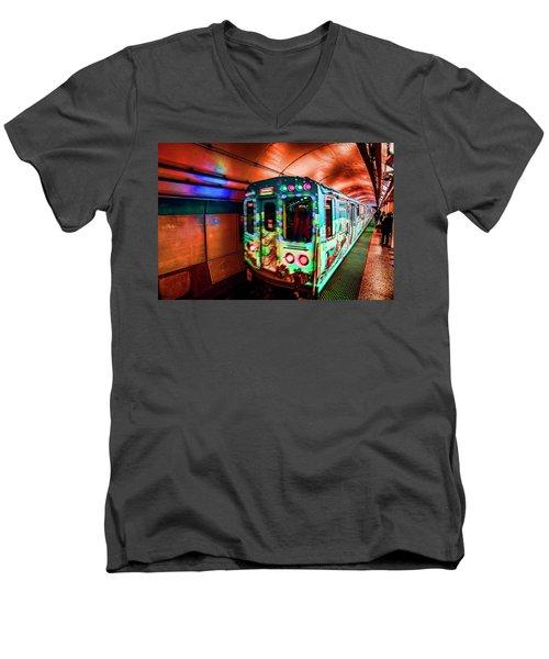 Xmas Subway Train Men's V-Neck T-Shirt