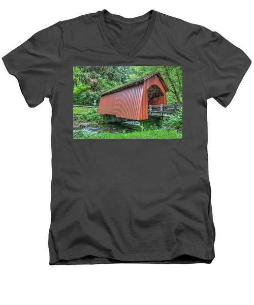 Yachats Covered Bridge Men's V-Neck T-Shirt