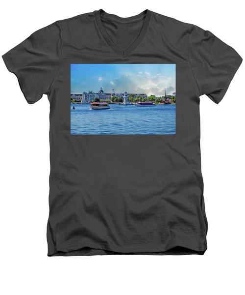 Yacht And Beach Club Walt Disney World Men's V-Neck T-Shirt by Thomas Woolworth
