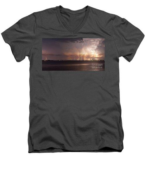 Yacht Club Nights Men's V-Neck T-Shirt by Quinn Sedam