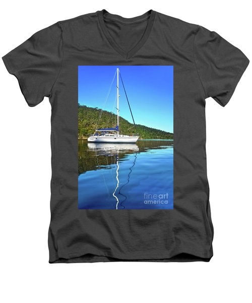 Men's V-Neck T-Shirt featuring the photograph Yacht Reflecting By Kaye Menner by Kaye Menner
