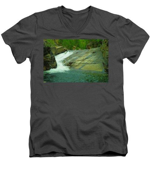Yak Falls   Men's V-Neck T-Shirt by Jeff Swan