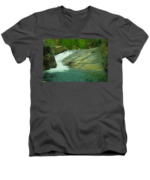 Yak Falls   Men's V-Neck T-Shirt