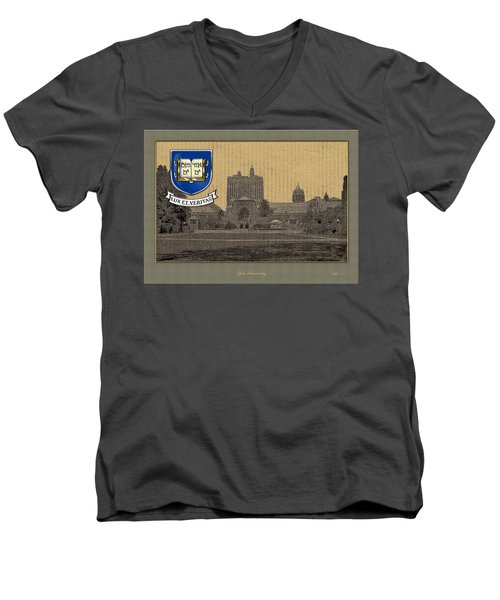 Yale University Building With Crest Men's V-Neck T-Shirt by Serge Averbukh