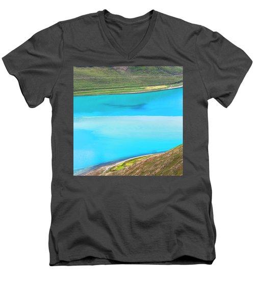 Men's V-Neck T-Shirt featuring the photograph Yamdrok Abstract 1, Tibet, 2007 by Hitendra SINKAR