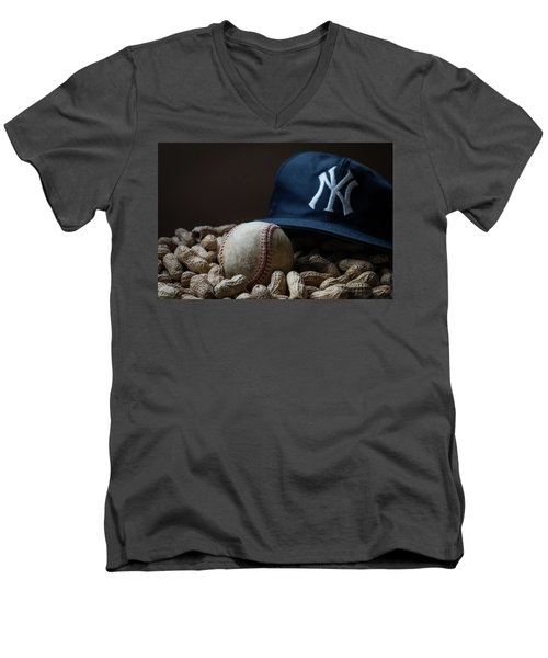 Men's V-Neck T-Shirt featuring the photograph Yankee Cap Baseball And Peanuts by Terry DeLuco