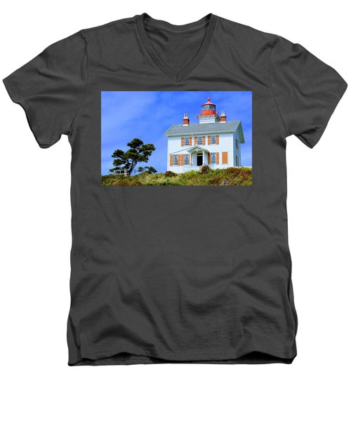 Men's V-Neck T-Shirt featuring the photograph Yaquina Bay Lighthouse by AJ Schibig