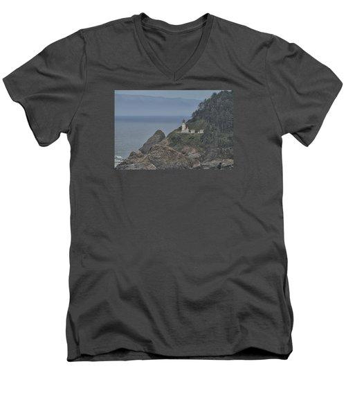 Yaquina Bay Lighthouse Men's V-Neck T-Shirt by Tom Kelly