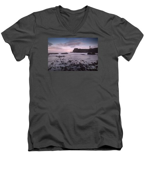 Yaquina Head Lighthouse Men's V-Neck T-Shirt by Keith Kapple