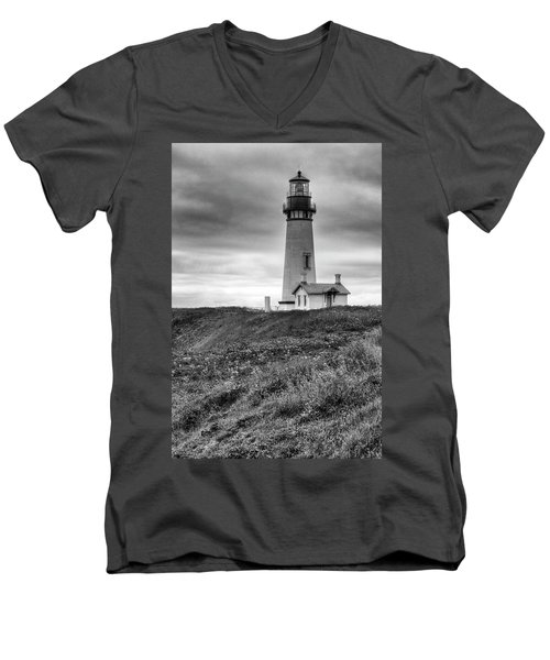 Yaquina Head Lighthouse - Monochrome Men's V-Neck T-Shirt