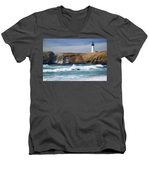 Yaquina Head Lighthouse On The Oregon Coast Men's V-Neck T-Shirt