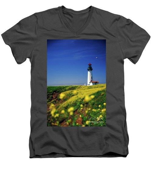 Yaquina Head Lighthouse- V2 Men's V-Neck T-Shirt