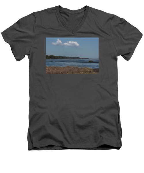 Men's V-Neck T-Shirt featuring the photograph Yawkey Wildlife Reguge - View From The Causeway by Suzanne Gaff