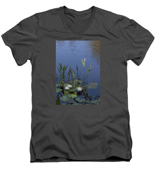 Men's V-Neck T-Shirt featuring the photograph Yawkey Wildlife Reguge Water Lilies With Rare Plant by Suzanne Gaff