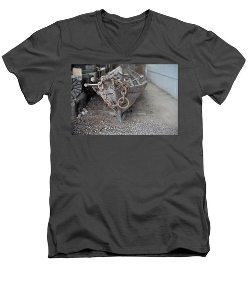 Men's V-Neck T-Shirt featuring the photograph Ye Old Fishing Boat by Fran Riley