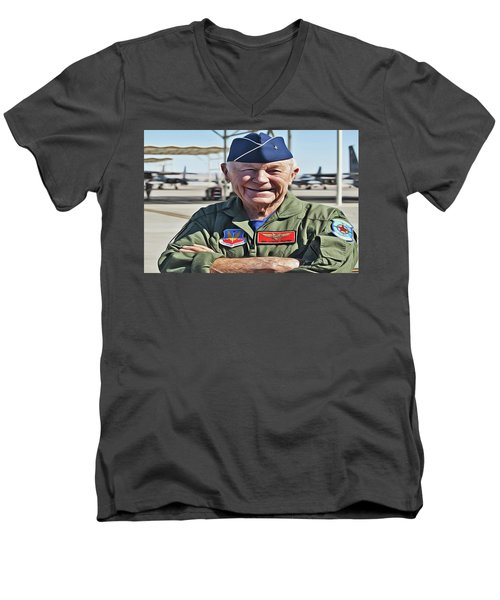 Men's V-Neck T-Shirt featuring the painting Yeager by Harry Warrick