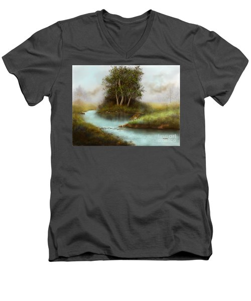 Men's V-Neck T-Shirt featuring the painting Yearling by Sena Wilson