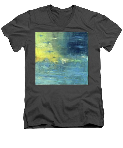 Men's V-Neck T-Shirt featuring the painting Yearning Tides by Michal Mitak Mahgerefteh