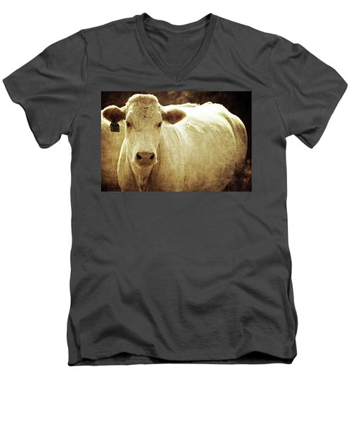 Men's V-Neck T-Shirt featuring the photograph Yeg 3110 by Trish Mistric