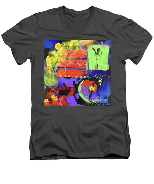 Red Abstract Men's V-Neck T-Shirt