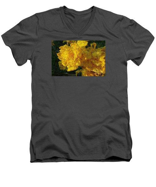 Yellow Abstraction Men's V-Neck T-Shirt by Jean Bernard Roussilhe