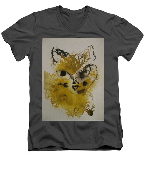 Yellow And Brown Cat Men's V-Neck T-Shirt by AJ Brown