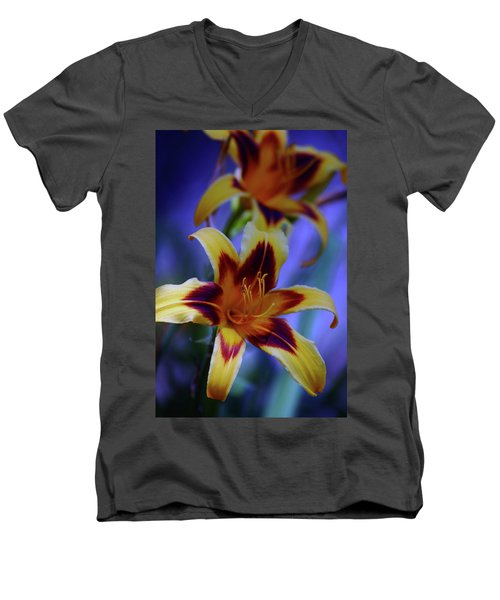Yellow And Orange And Garnet Daylilies 1270 H_2 Men's V-Neck T-Shirt