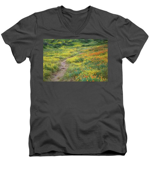 Yellow And Orange Wildflowers Along Trail Near Diamond Lake Men's V-Neck T-Shirt by Jetson Nguyen