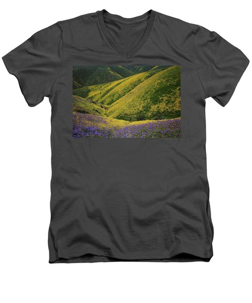 Yellow And Purple Wildlflowers Adourn The Temblor Range At Carrizo Plain National Monument Men's V-Neck T-Shirt by Jetson Nguyen