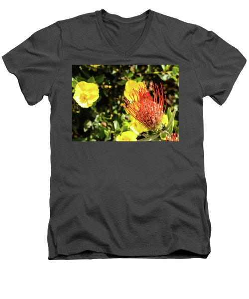 Yellow And Red Men's V-Neck T-Shirt