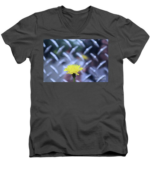 Yellow And Silver Men's V-Neck T-Shirt
