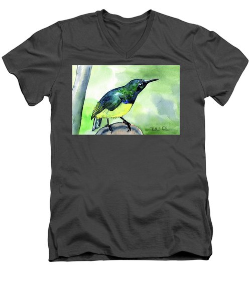 Men's V-Neck T-Shirt featuring the painting Yellow Bellied Sunbird by Dora Hathazi Mendes