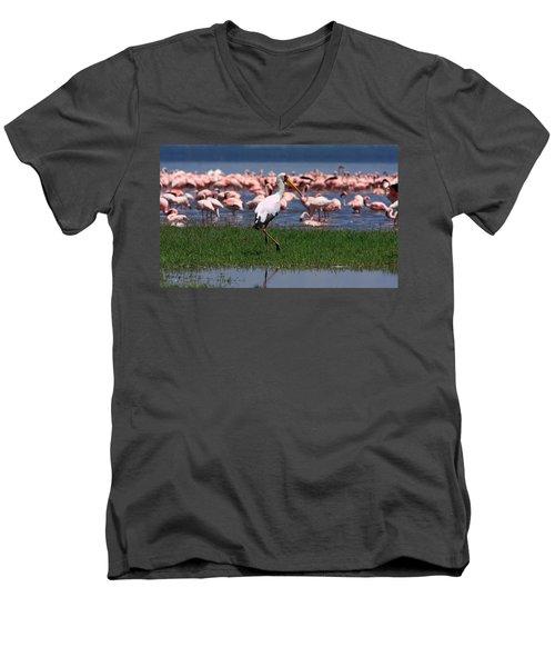 Yellow Billed Stork Men's V-Neck T-Shirt