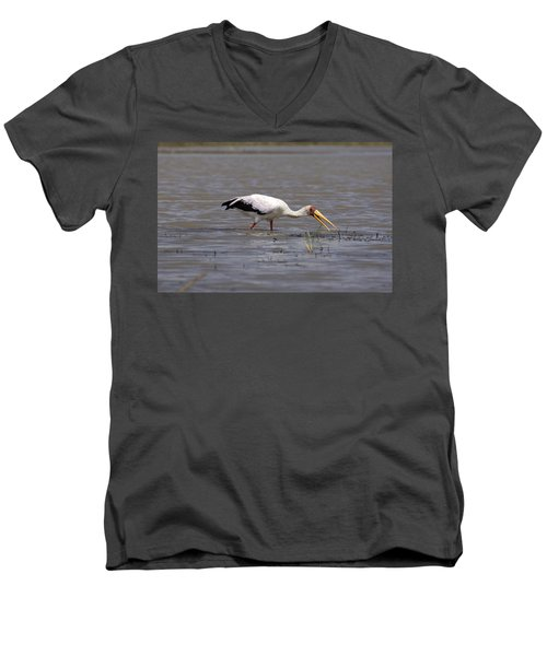 Yellow Billed Stork Wading In The Shallows Men's V-Neck T-Shirt by Aidan Moran