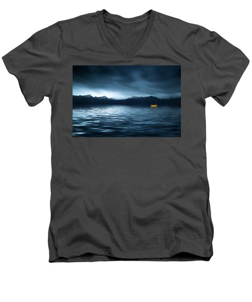 Yellow Boat Men's V-Neck T-Shirt by Bess Hamiti