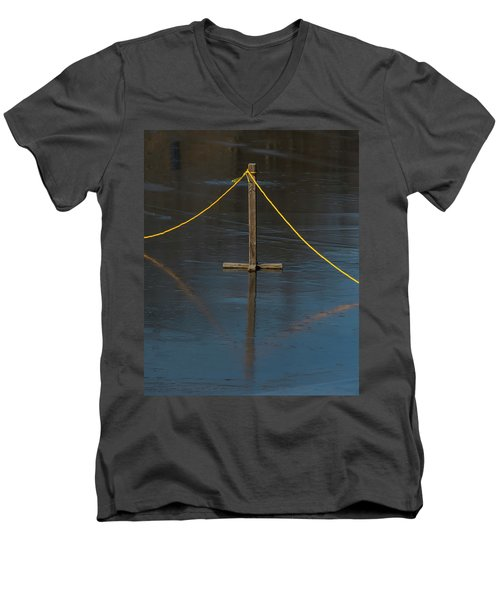 Men's V-Neck T-Shirt featuring the photograph Yellow Boundary On Ice by Gary Slawsky