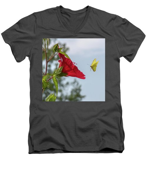 Yellow Butterfly Art Men's V-Neck T-Shirt