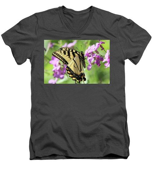 Yellow Butterfly Men's V-Neck T-Shirt by David Stasiak