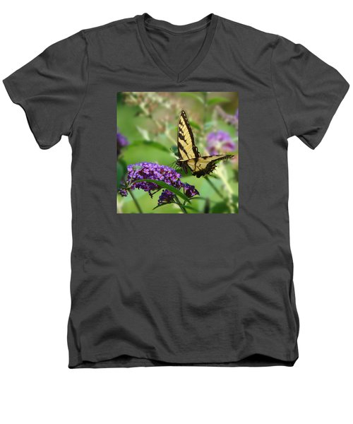 Yellow Butterfly On Purple Men's V-Neck T-Shirt