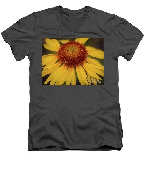 Yellow Cone Flower Men's V-Neck T-Shirt by John Roberts