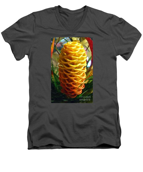 Men's V-Neck T-Shirt featuring the photograph Yellow Cone Flower No. 2 by Merton Allen