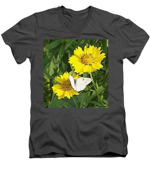 Yellow Cow Pen Daisies Men's V-Neck T-Shirt