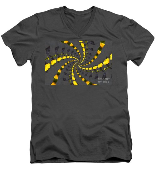 Yellow Daisy Spin Wheel  Men's V-Neck T-Shirt
