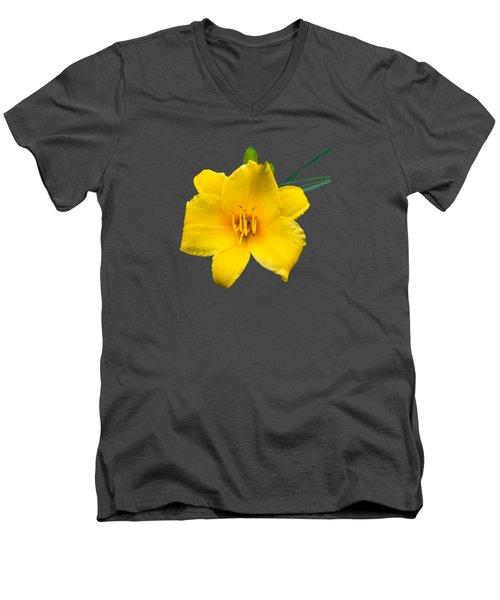 Yellow Daylily Flower Men's V-Neck T-Shirt