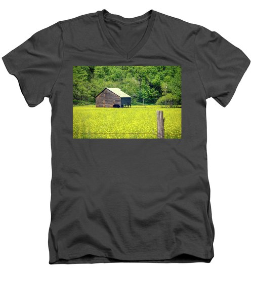 Yellow Field Rustic Shed Men's V-Neck T-Shirt
