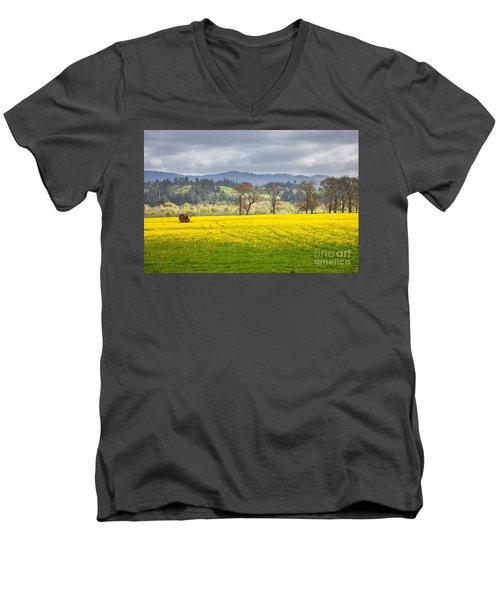 Yellow Fields Along The Eel River Men's V-Neck T-Shirt by Mark Alder