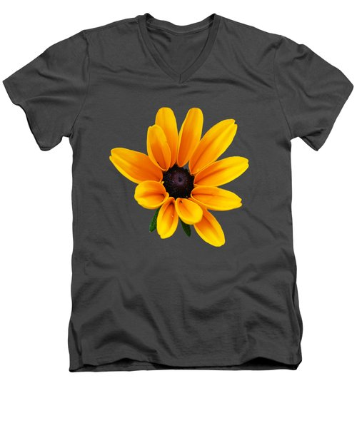Yellow Flower Black-eyed Susan Men's V-Neck T-Shirt