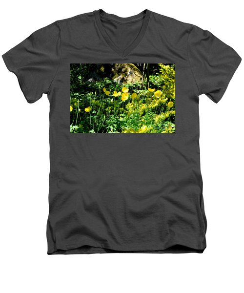 Yellow Flowers Bathing In The Sun Men's V-Neck T-Shirt by Tanya Searcy