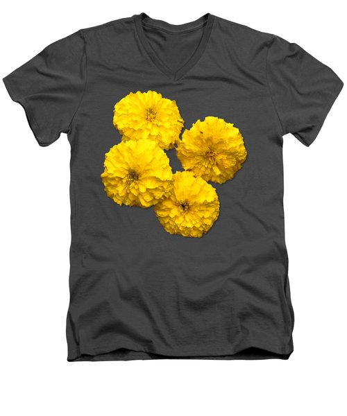 Yellow Flowers Men's V-Neck T-Shirt by Bob Slitzan