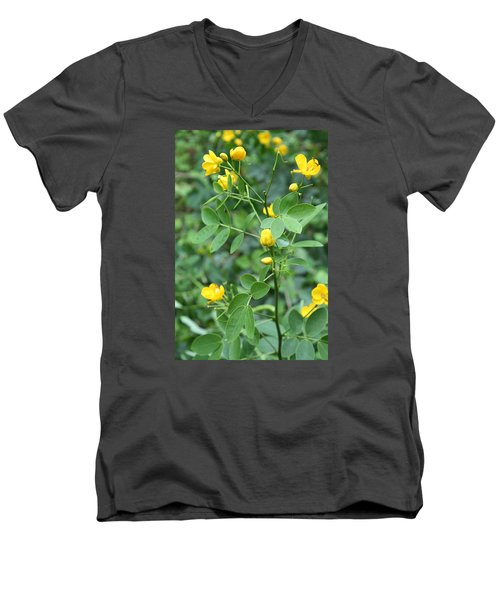 Men's V-Neck T-Shirt featuring the photograph Yellow Flowers by Karen Nicholson